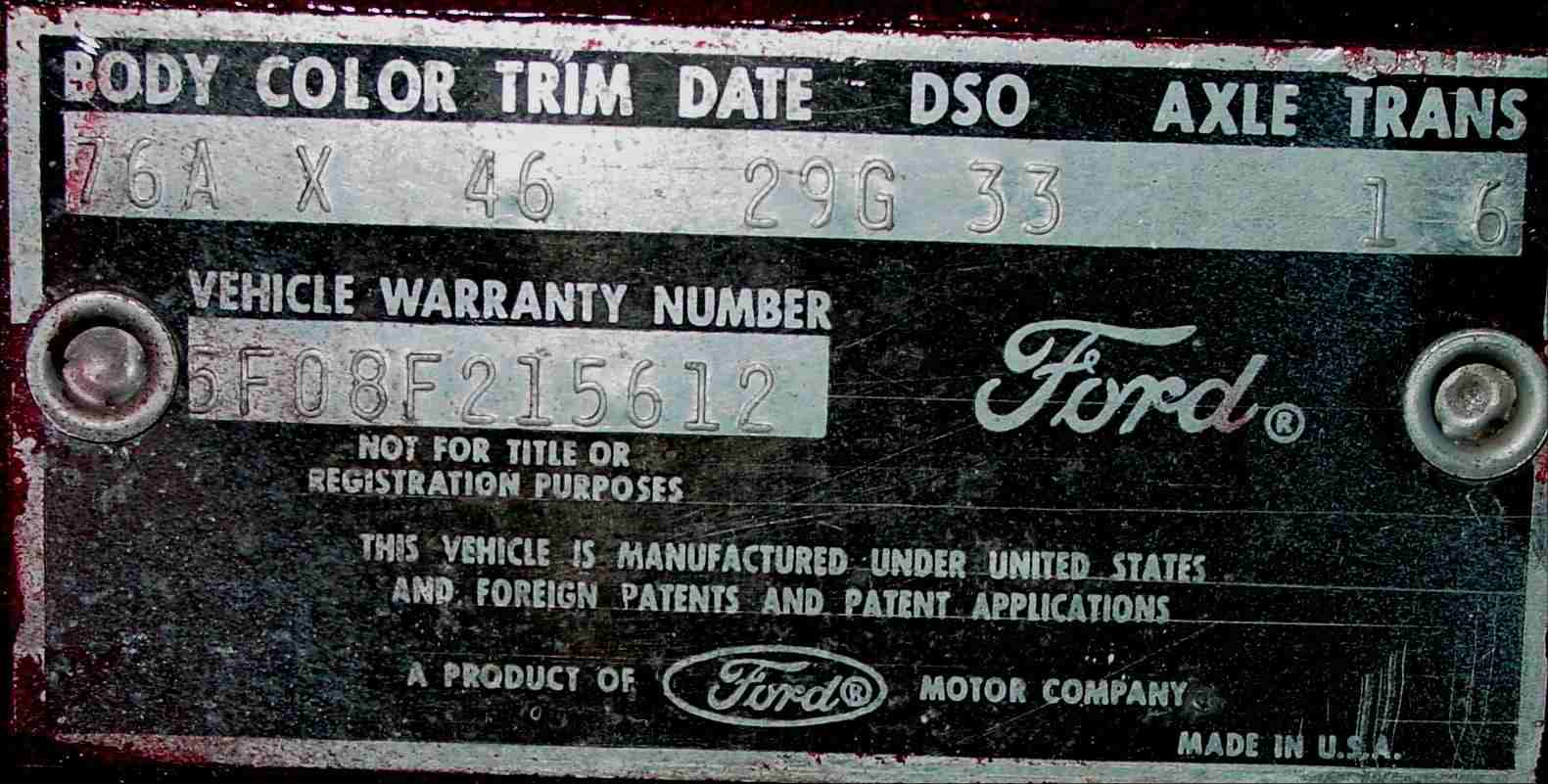Ford vehicle identification number vehicle ideas for Motor vehicle id price