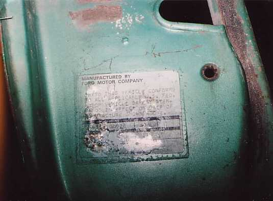 1971-1973 Mustang Door Data Plate Location